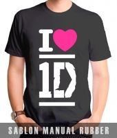 Kaos Sablon  I Heart One Direction