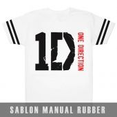 Kaos Sablon Logo One Direction Lengan Strip